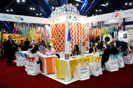Quilt Market booths are nothing short of incredible. This was one of my favorites: Moda's award-winning booth from Fall, 2013.