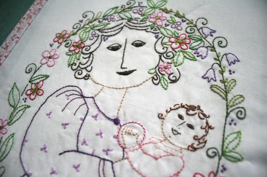 Mother and Child stitchery done with Aurifil 12wt. thread